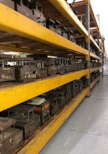 injection molds on shelves